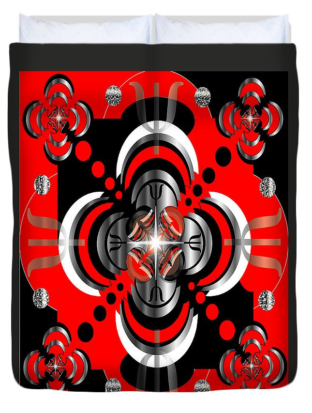 Abstract Duvet Cover featuring the digital art Test Pattern 5 by George Pasini