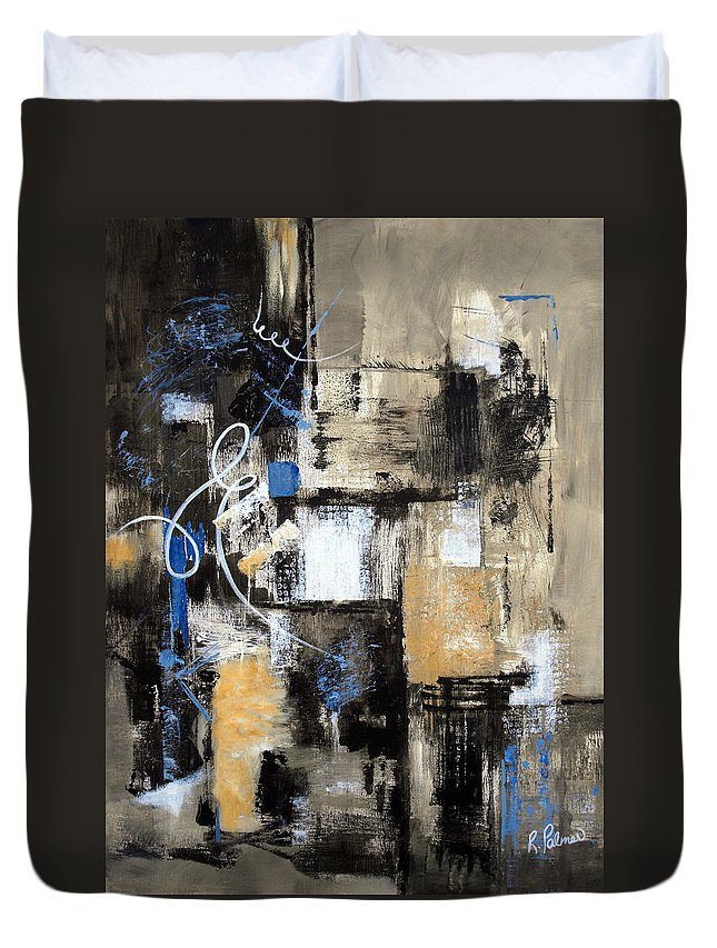 Abstract Duvet Cover featuring the painting Testing The Waters by Ruth Palmer
