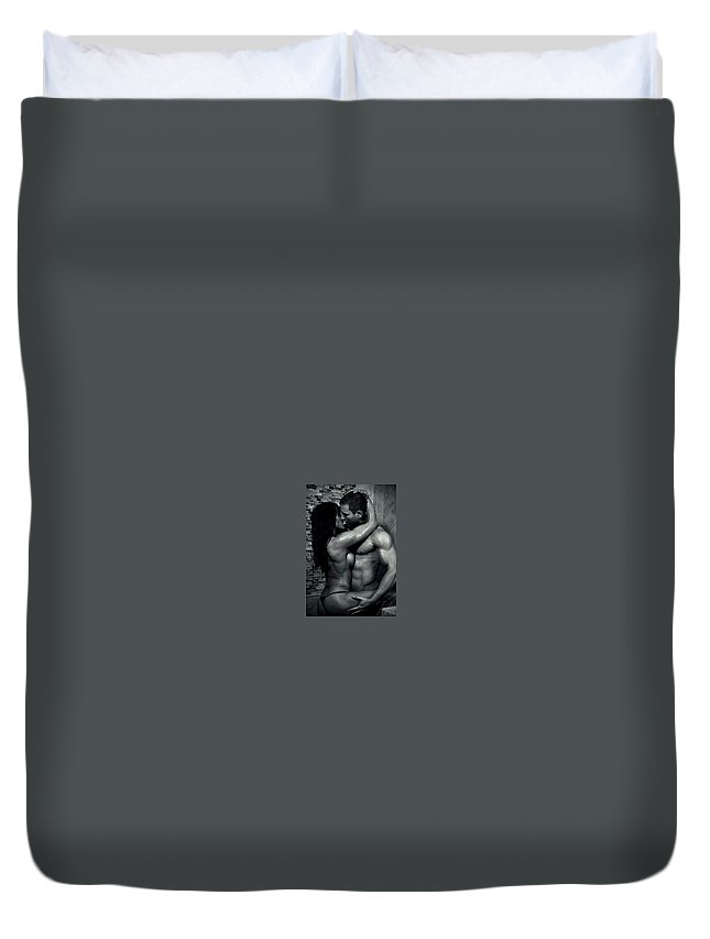 Duvet Cover featuring the drawing Testo Ultra by Eugen Urill