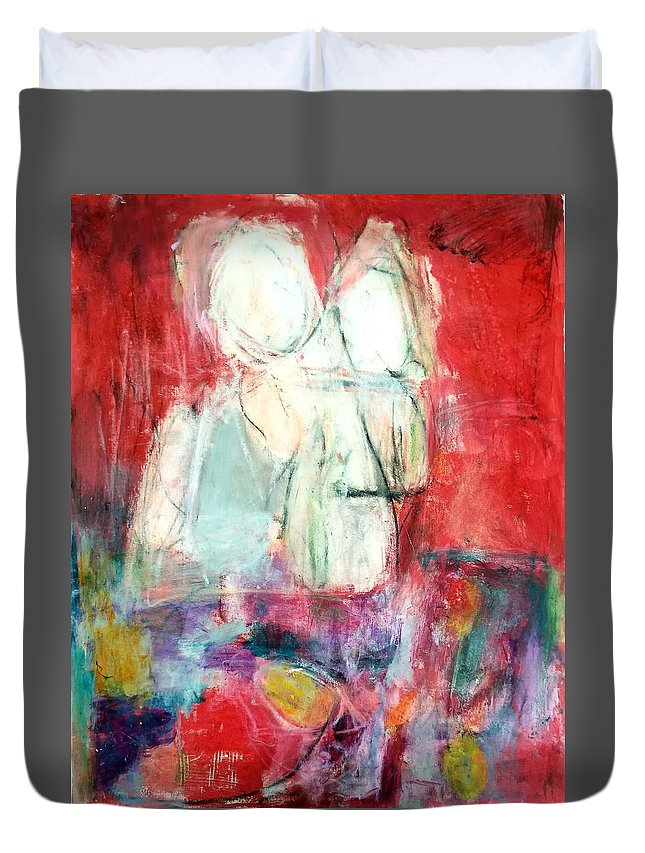 Red Duvet Cover featuring the painting Tete-a-tete by Patricia Byron