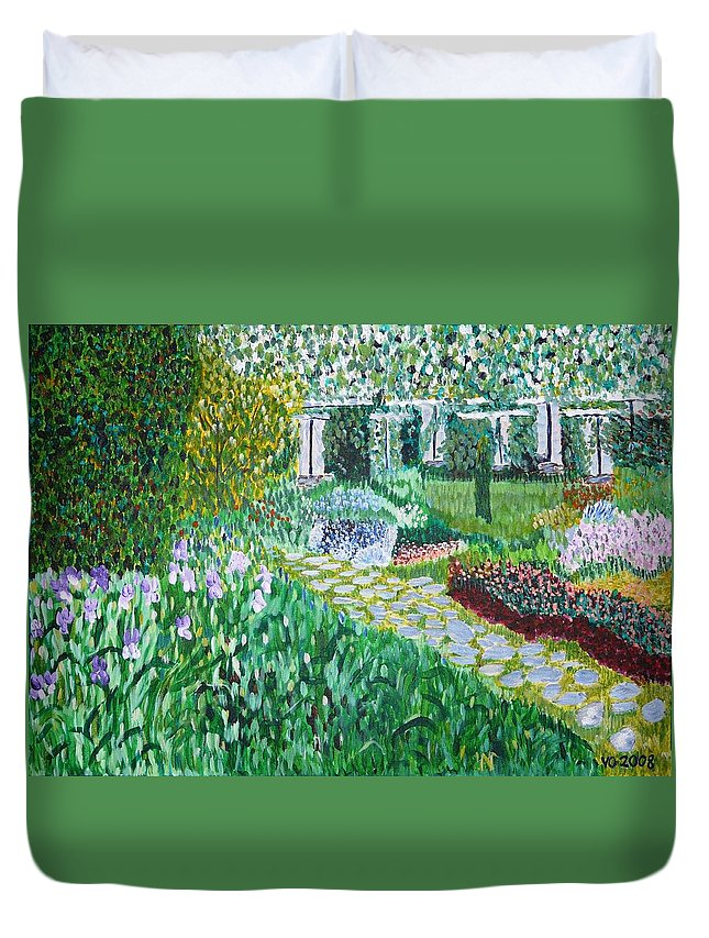 Landscape Duvet Cover featuring the painting Tete D'or Park Lyon France by Valerie Ornstein