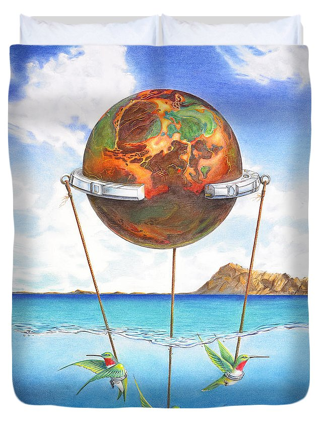 Surreal Duvet Cover featuring the painting Tethered Sphere by Melissa A Benson