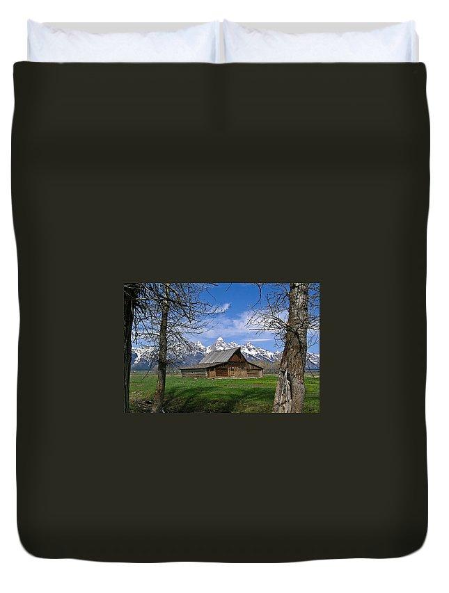 Teton Duvet Cover featuring the photograph Teton Barn by Douglas Barnett