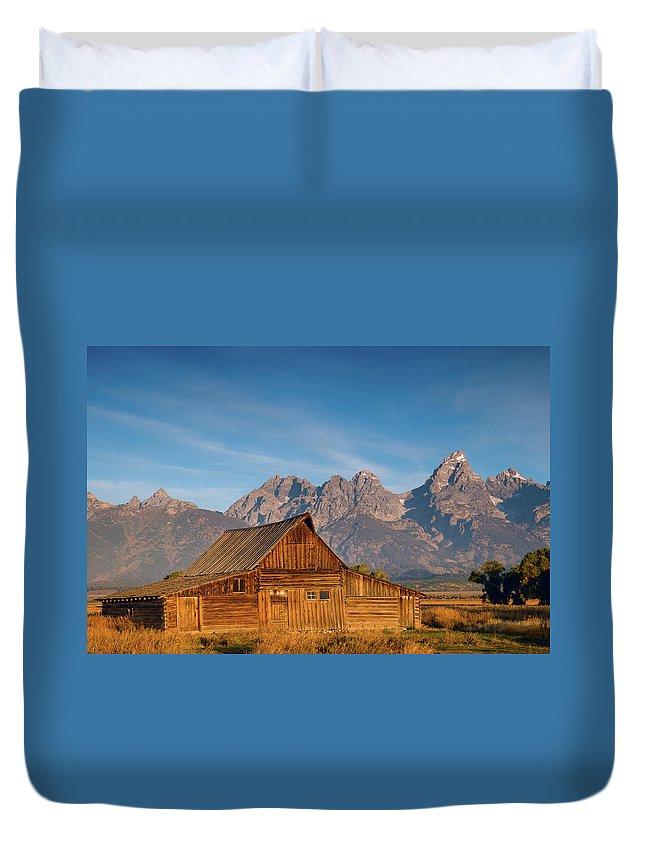 Grand Teton Duvet Cover featuring the photograph Teton Barn by Steve Stuller