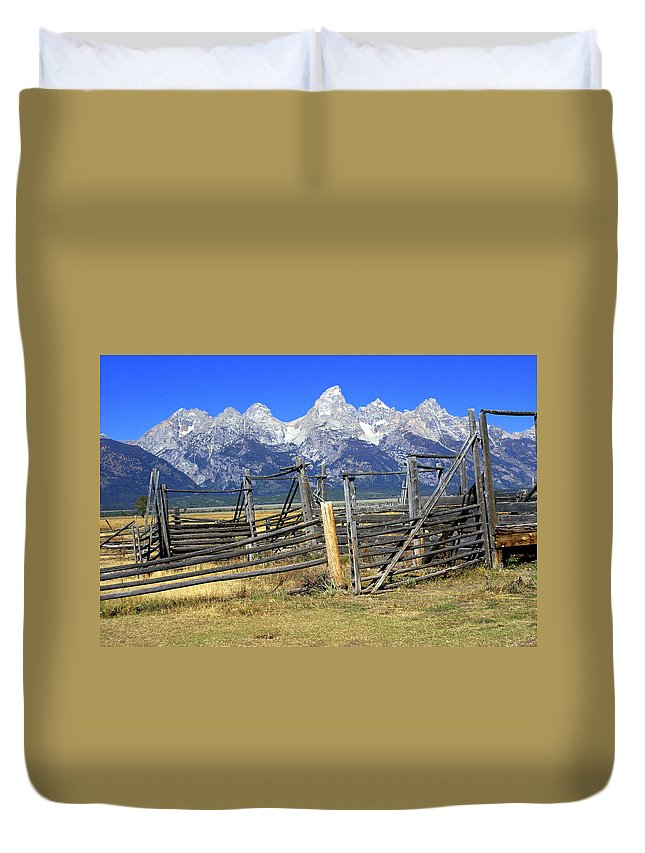 Grand Teton National Park Duvet Cover featuring the photograph Teton Corral by Marty Koch