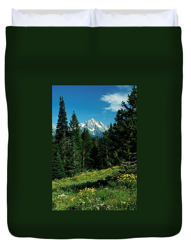 Wyoming Duvet Cover featuring the photograph Teton Meadow by Jerry McElroy