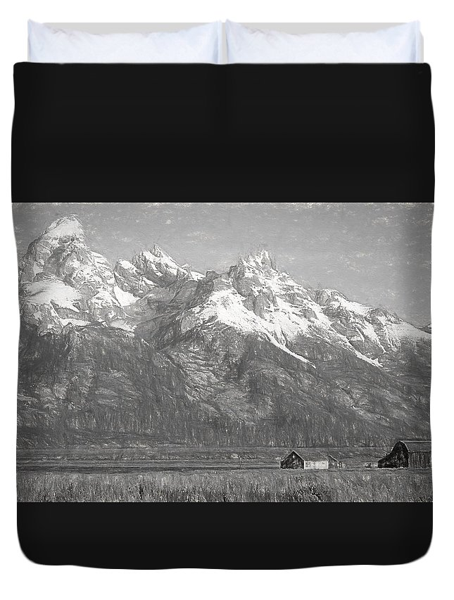Teton Range Charcoal Sketch Duvet Cover featuring the drawing Teton Range Charcoal Sketch by Dan Sproul