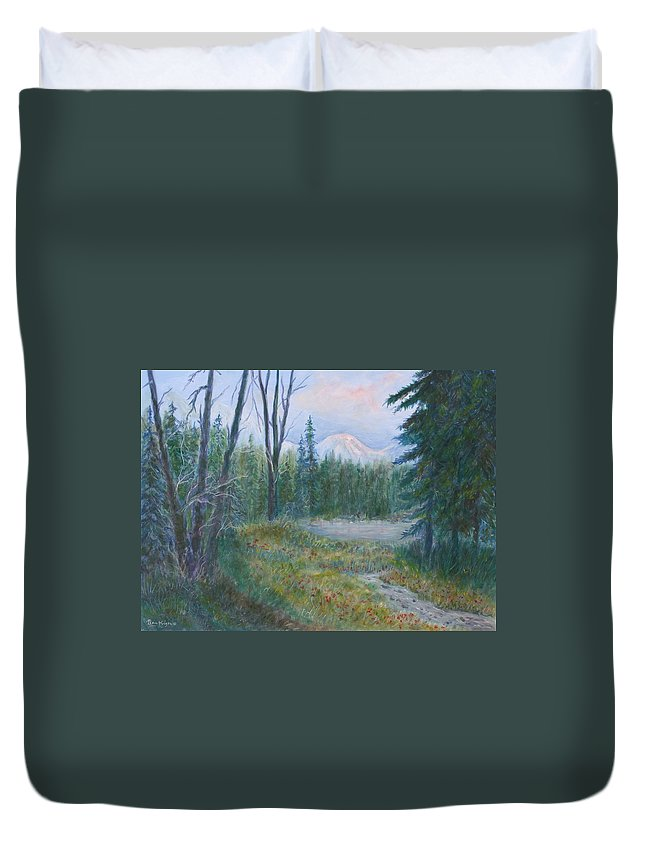 Landscape Duvet Cover featuring the painting Teton Valley by Ben Kiger