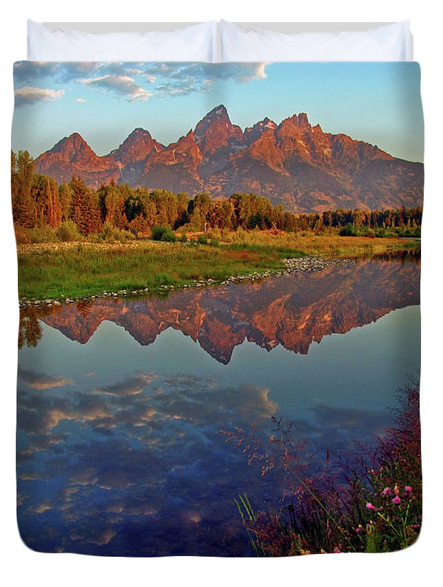 Mountains Duvet Cover featuring the photograph Teton Wildflowers by Scott Mahon