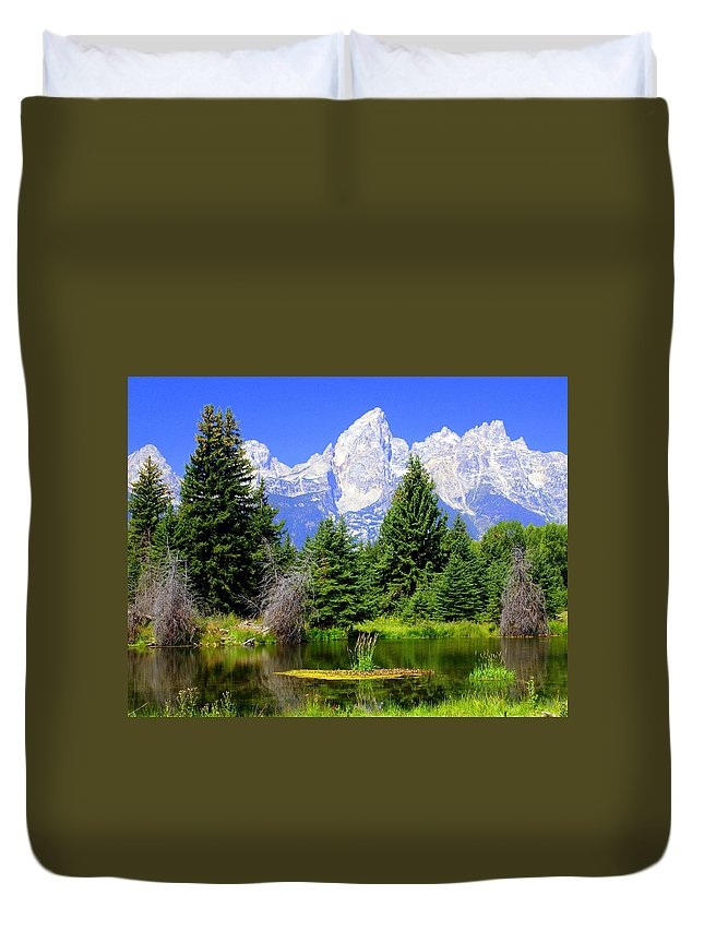 Grand Teton National Park Duvet Cover featuring the photograph Tetons 3 by Marty Koch