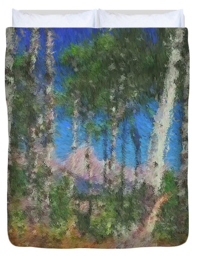 Tetons Duvet Cover featuring the digital art Tetons And Aspens by Ed Moore
