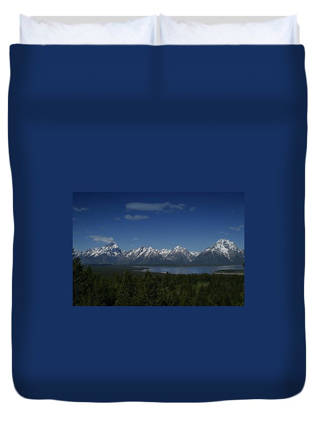 Mountains Duvet Cover featuring the photograph Tetons In Blue by Shari Jardina