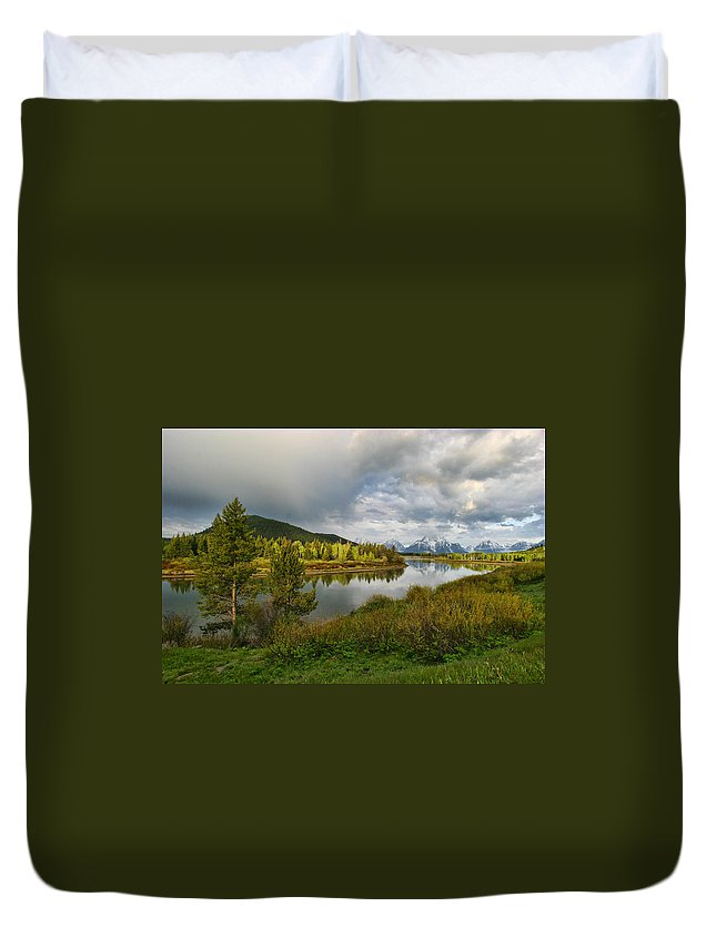 Mountains Grand Tetons National Park Snow Capped Water Lake Aspens Landscape Duvet Cover featuring the photograph Tetons In The Distance by Shari Jardina
