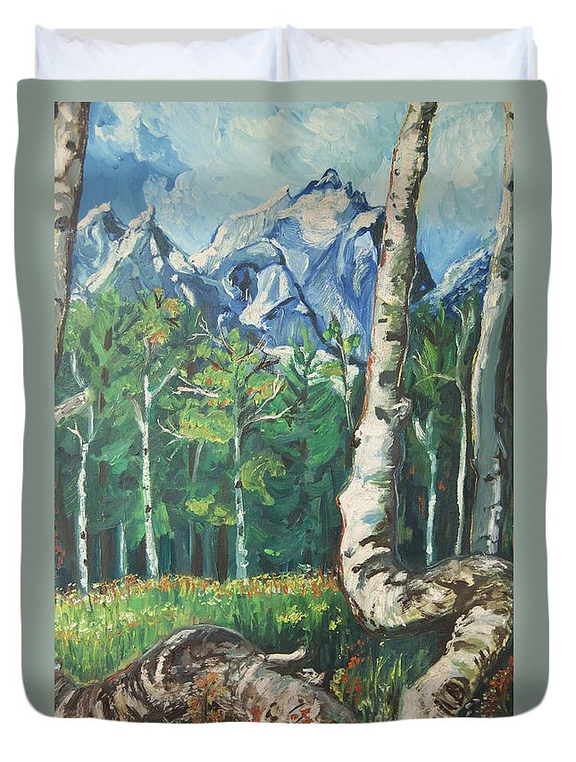 Landscape Duvet Cover featuring the painting Tetons by Susan Brown  Slizys art signature name
