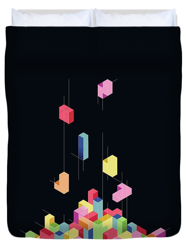 Shapes Duvet Cover featuring the digital art Tetrisometric by Corsac Illustration
