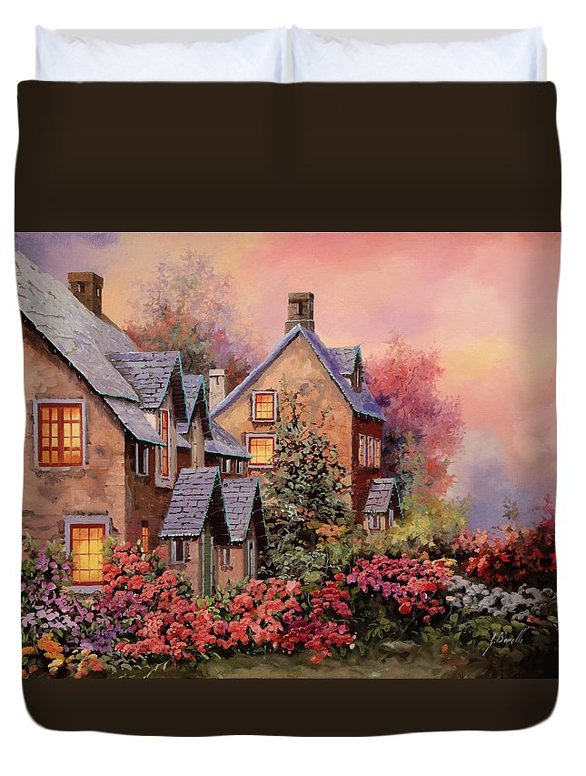 Light Duvet Cover featuring the painting Tetti Viola E Luci by Guido Borelli