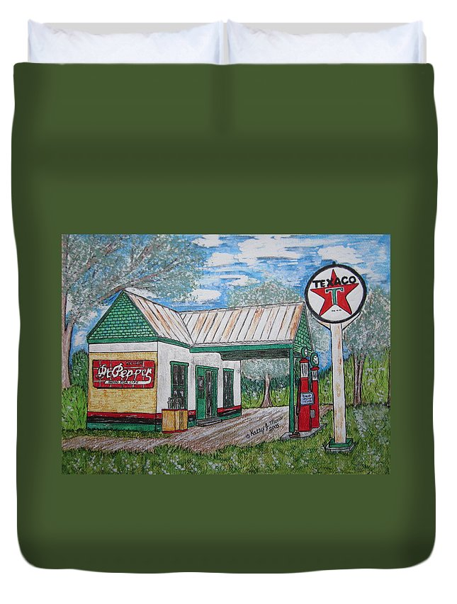 Nostalgia Duvet Cover featuring the painting Texaco Gas Station by Kathy Marrs Chandler