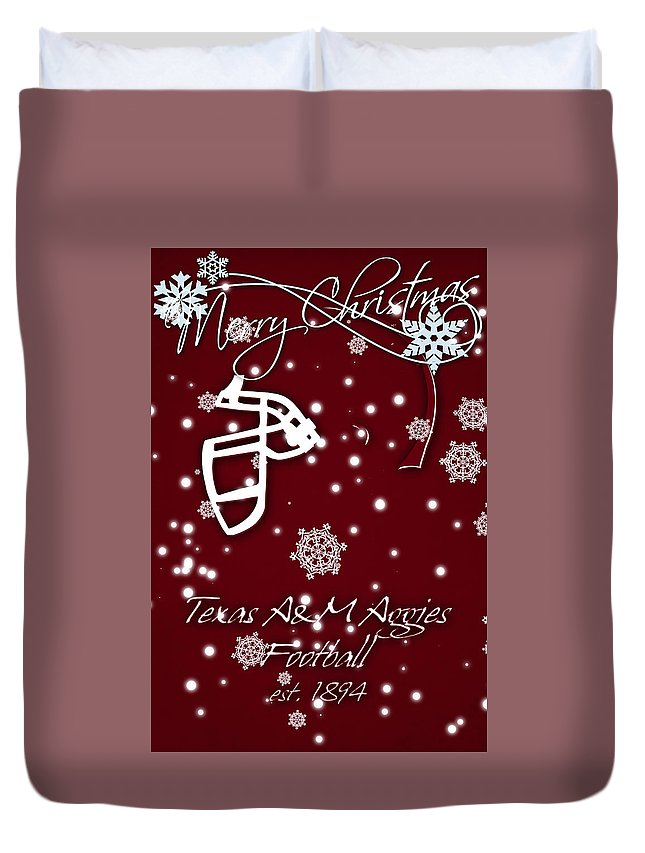 Texas A&m Aggies Duvet Cover featuring the photograph Texas Am Aggies Christmas Card by Joe Hamilton