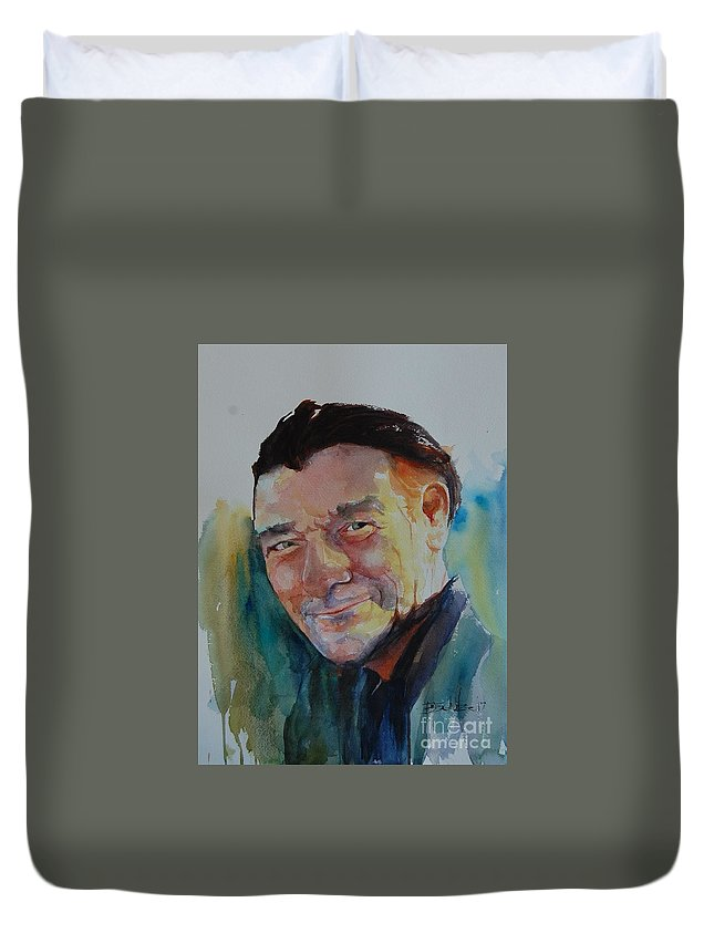 Portrait Duvet Cover featuring the painting Texas Beach Bum by Brad Schulze