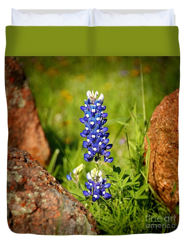 Landscape Duvet Cover featuring the photograph Texas Bluebonnet by Jon Holiday