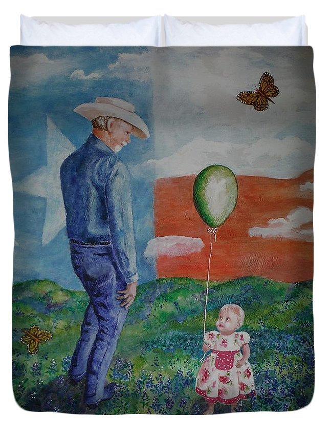 Monarch Duvet Cover featuring the painting Texas Grandpa by Shirley Goss