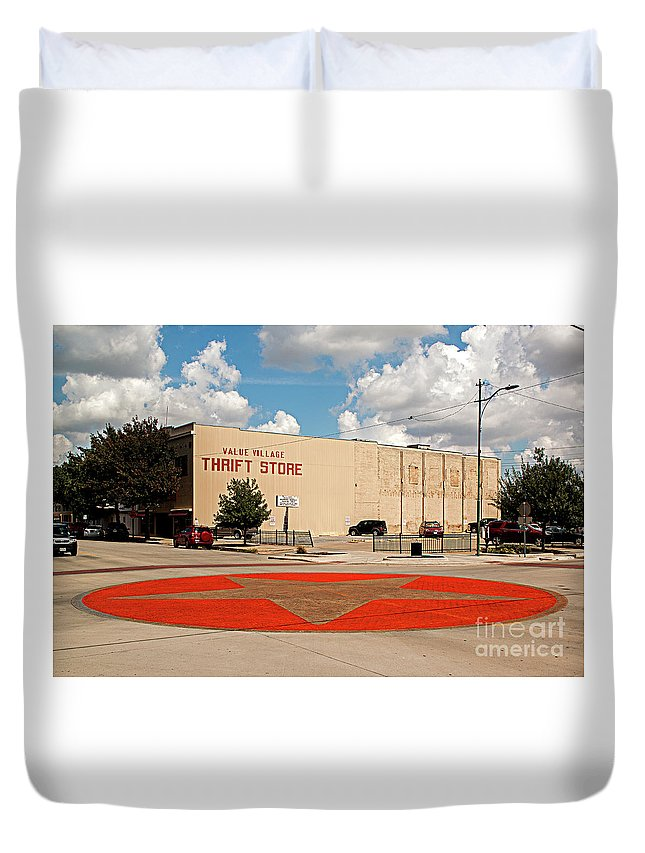 One Star Duvet Cover featuring the photograph Texas Lone Star State by Christian Hallweger
