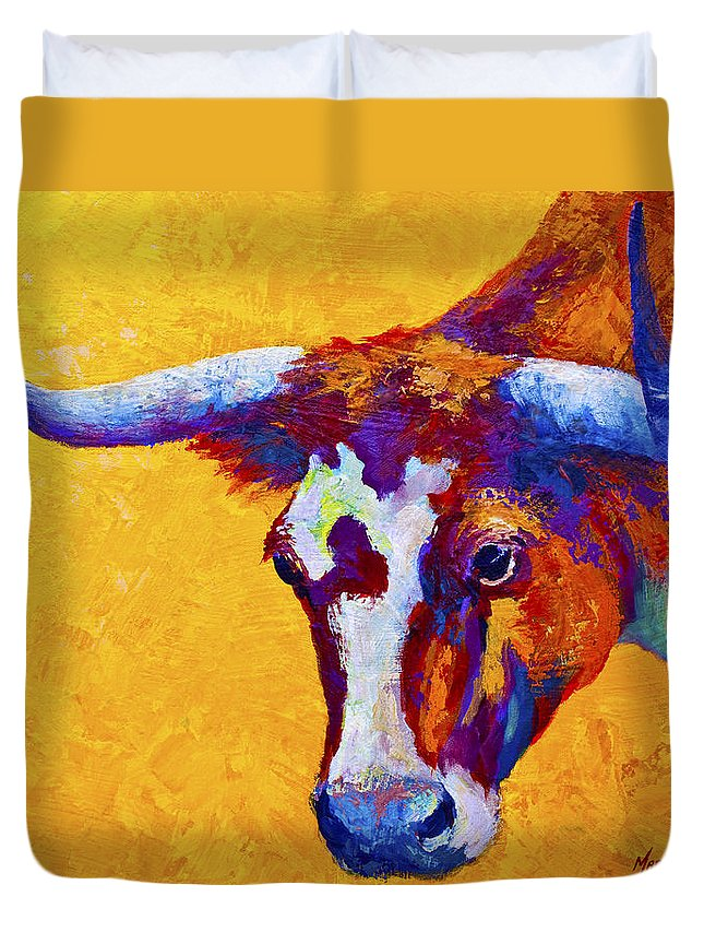 Longhorn Duvet Cover featuring the painting Texas Longhorn Cow Study by Marion Rose