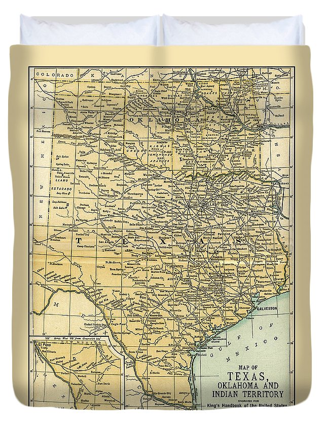 Map Of Texas And Oklahoma.Texas Oklahoma Indian Territory Antique Map 1891 Duvet Cover For