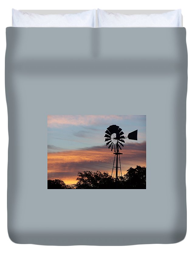 Windmill Duvet Cover featuring the photograph Texas Sunrise by Gale Cochran-Smith