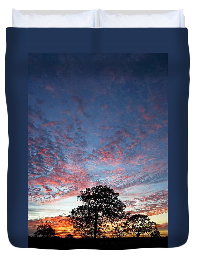 Tree Duvet Cover featuring the photograph Texas Sunset by Skip Hunt