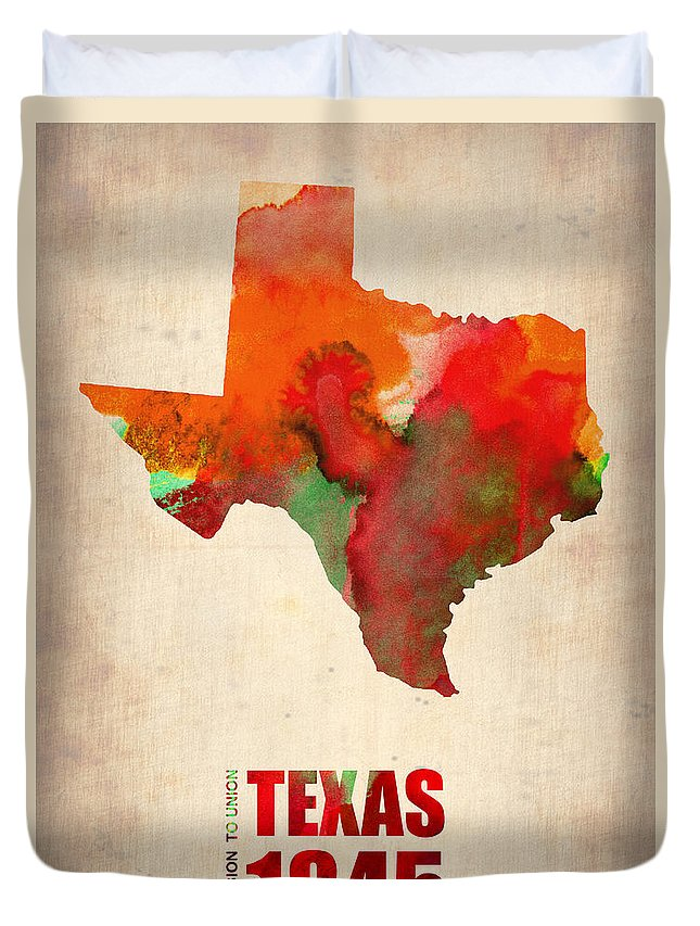 Texas Duvet Cover featuring the digital art Texas Watercolor Map by Naxart Studio