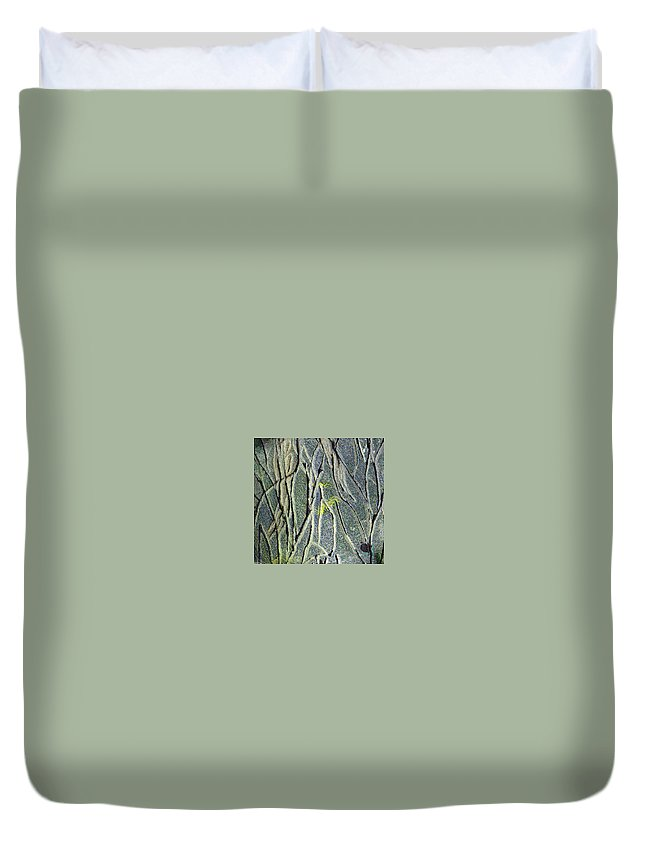 Abstract Duvet Cover featuring the painting Texture Study One  Entanglement by Wayne Potrafka