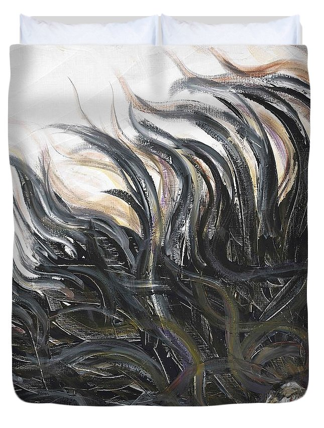 Texture Duvet Cover featuring the painting Textured Black Sunflower by Nadine Rippelmeyer