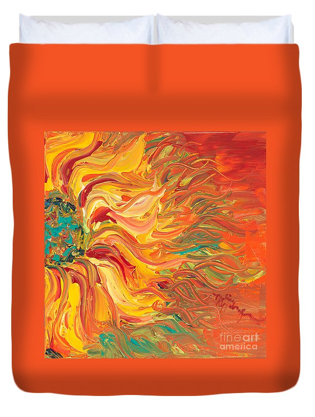 Sunjflower Duvet Cover featuring the painting Textured Fire Sunflower by Nadine Rippelmeyer