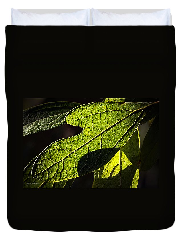 Leaf Duvet Cover featuring the photograph Textured Glow by Christopher Holmes