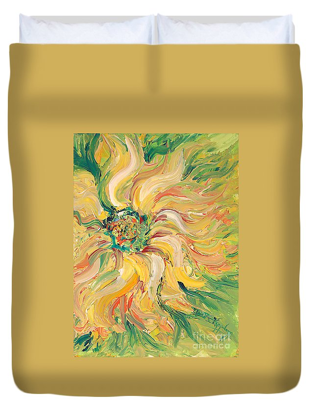 Texture Duvet Cover featuring the painting Textured Green Sunflower by Nadine Rippelmeyer