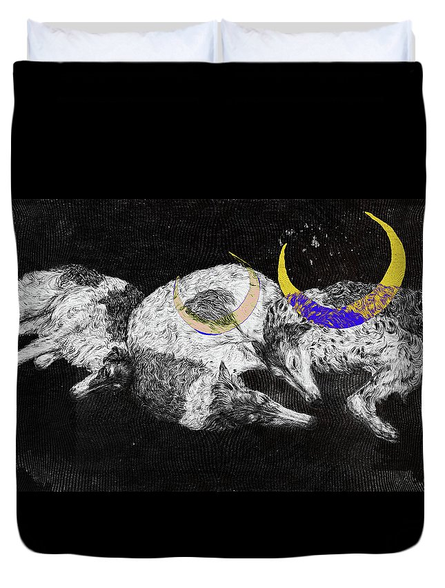 Artwork Duvet Cover featuring the drawing Textured Night For Borzoi Dogs by Elizaveta Mikheeva