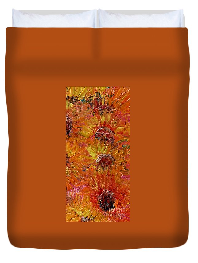 Sunflowers Duvet Cover featuring the painting Textured Sunflowers by Nadine Rippelmeyer