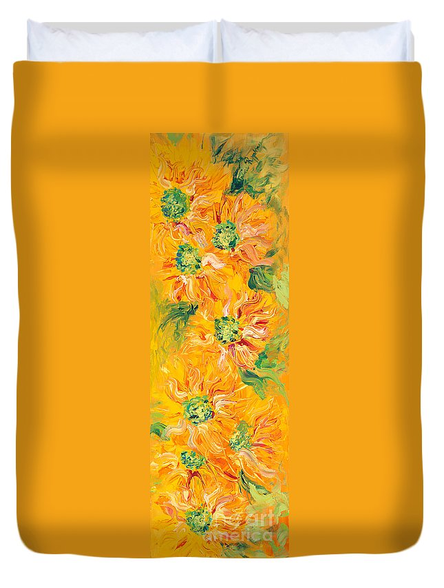 Yellow Duvet Cover featuring the painting Textured Yellow Sunflowers by Nadine Rippelmeyer