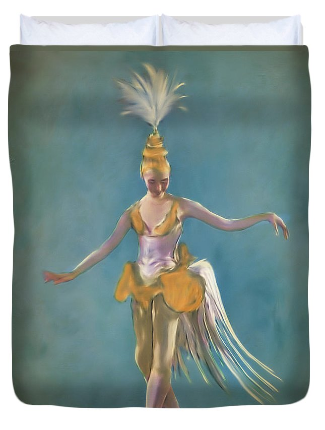 Portrait Duvet Cover featuring the painting Thai Ballerina by Ted Guhl