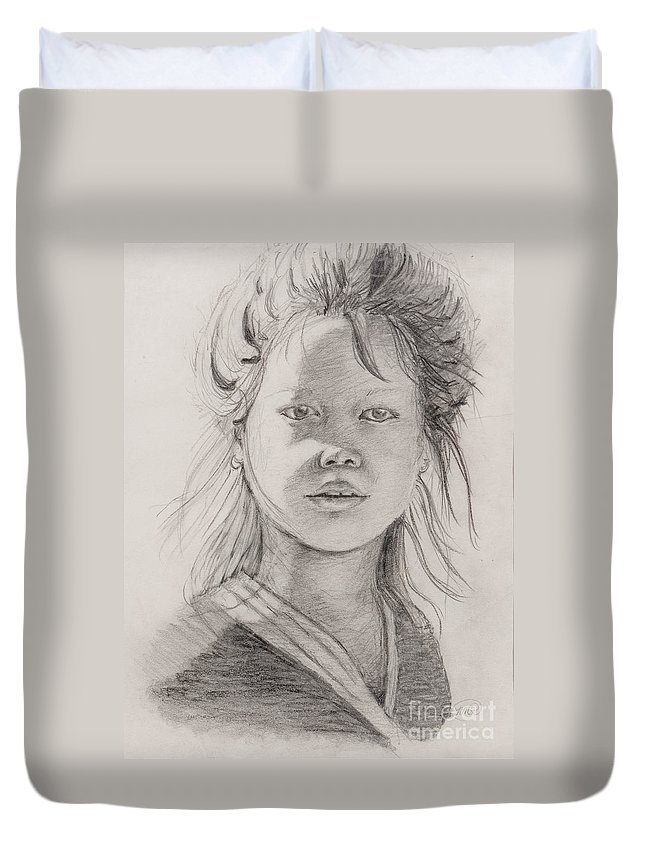 Portrait Duvet Cover featuring the drawing Thai Beauty by Nadine Rippelmeyer