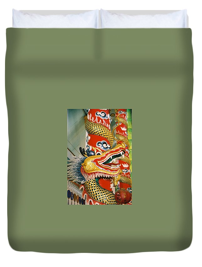 Animal Duvet Cover featuring the photograph Thai Dragon by Mary Rogers