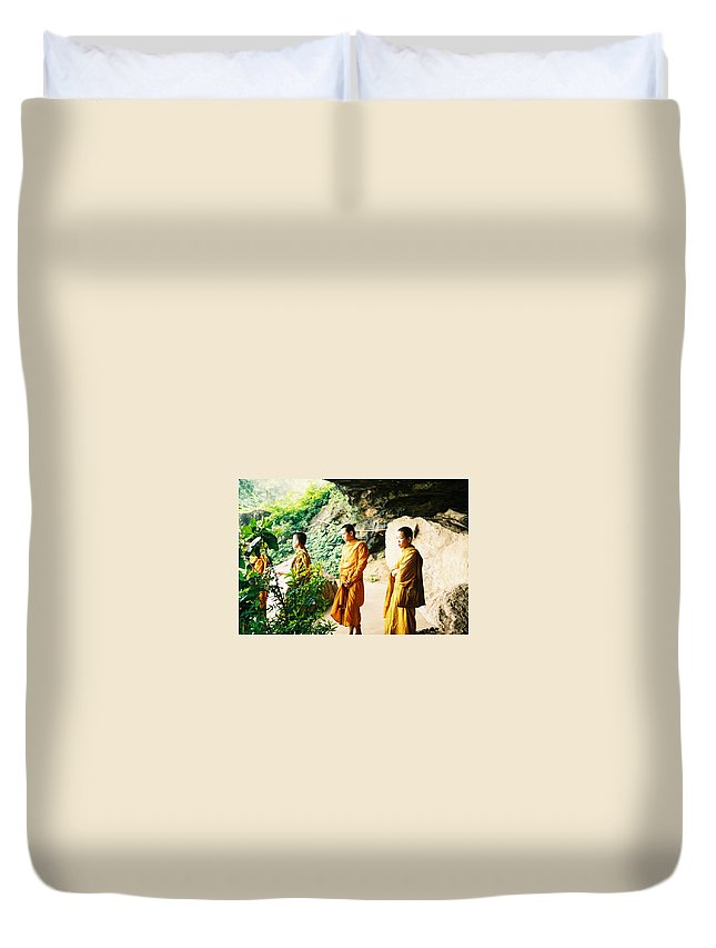 Monks Duvet Cover featuring the photograph Thai Monks by Mary Rogers
