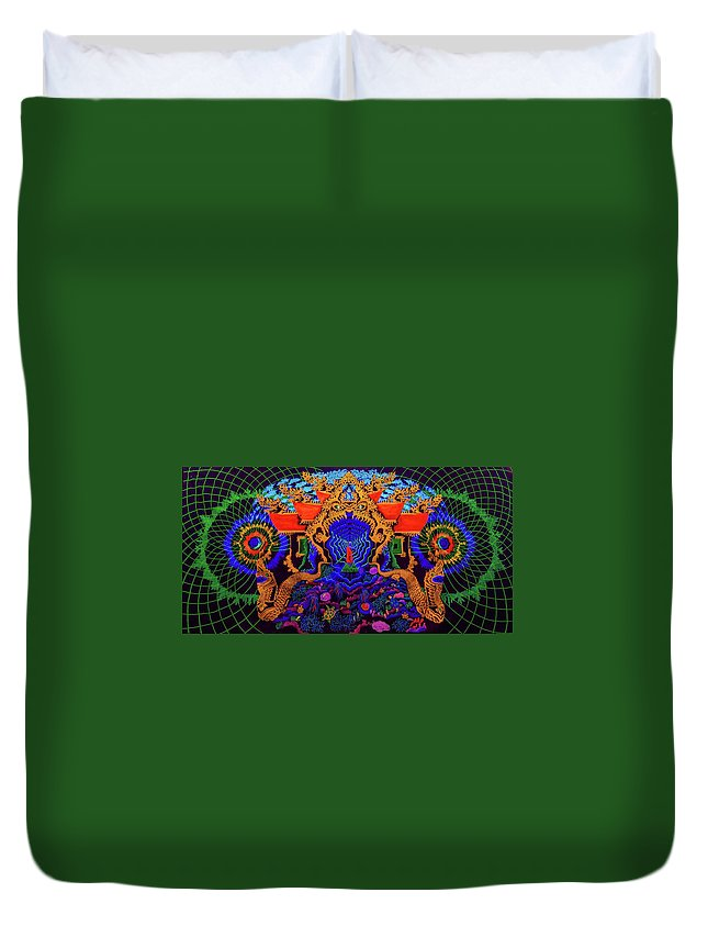 #thailand #buddhism #consciousness #world #deep #inside #dragon #visionary #psychedelic #spiritually #soul #fluorescent #uv #ultraviolet #meditation Duvet Cover featuring the painting Thailand by Dmitriy Slobodsky