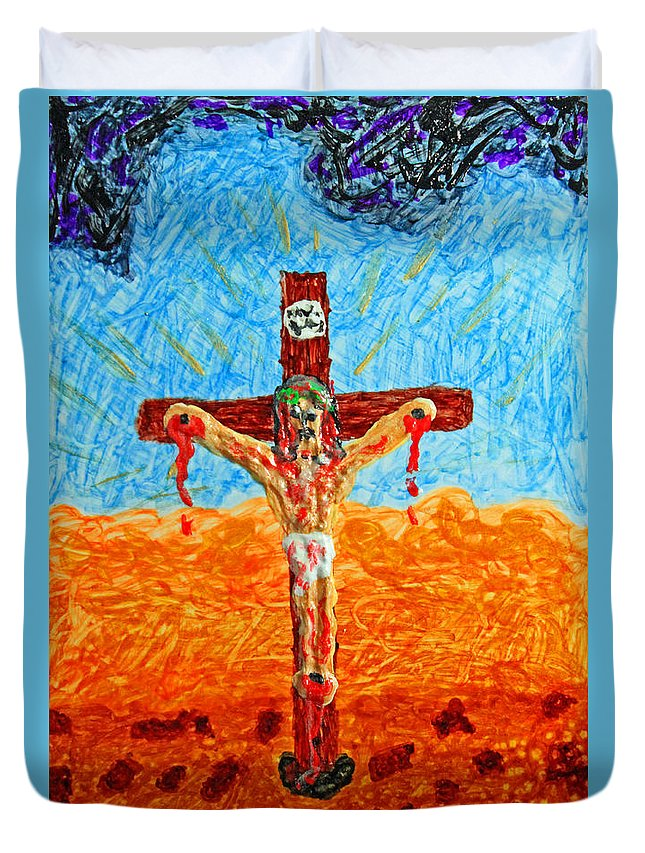 Abstract Duvet Cover featuring the painting Thank God For Good Friday 1 by Carl Deaville