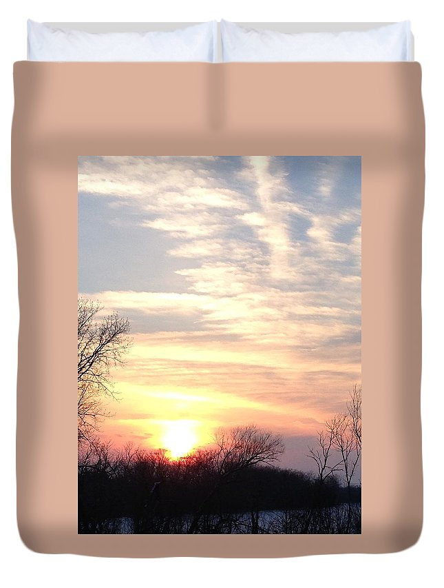 Sunset Duvet Cover featuring the photograph Thank You For This Day by Maria Malayter