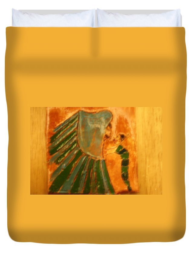 Jesus Duvet Cover featuring the ceramic art Thanks Jaaja - Tile by Gloria Ssali