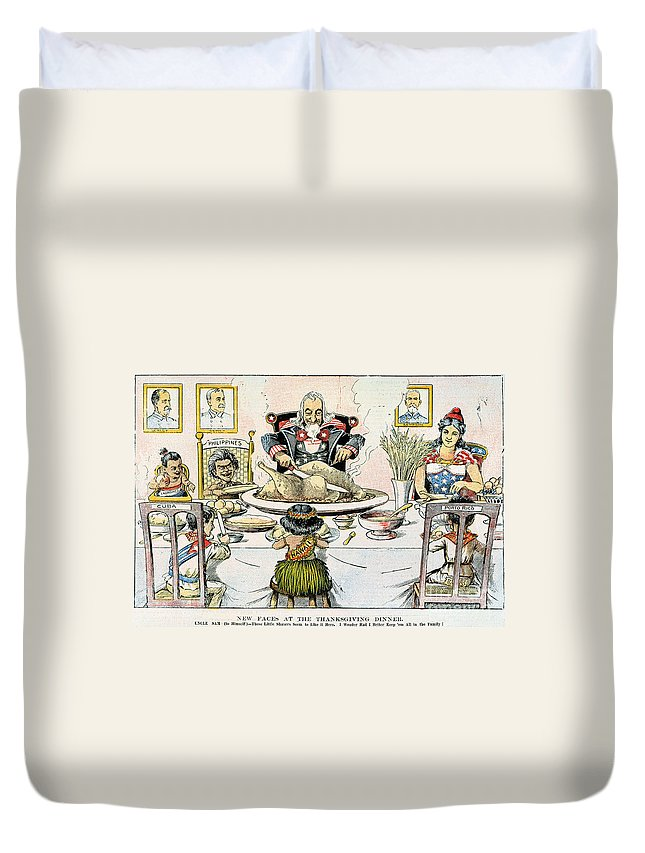 1898 Duvet Cover featuring the photograph Thanksgiving Cartoon, 1898 by Granger