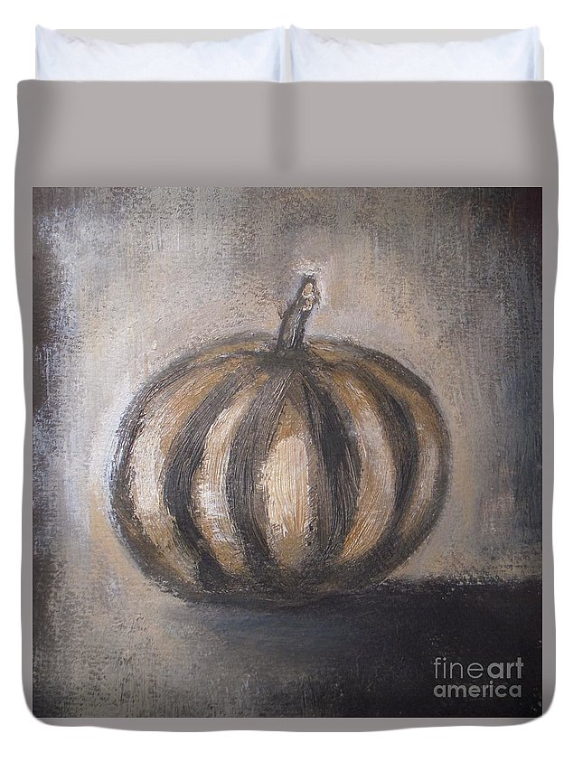 Thanksgiving Duvet Cover featuring the painting Thanksgiving - Pumpkin by Vesna Antic