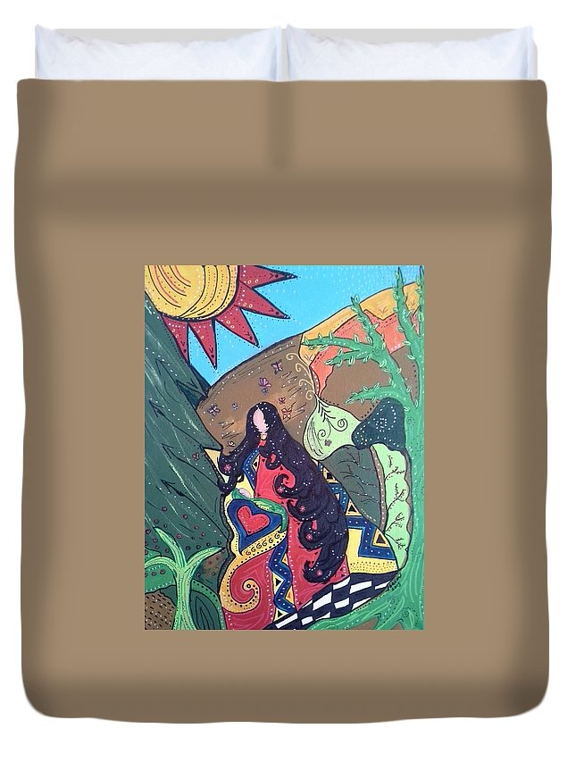 Native American Duvet Cover featuring the painting Thanksgiving by Sharon Davis
